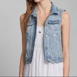 Abercrombie and Fitch Distressed Blue Denim Vest
